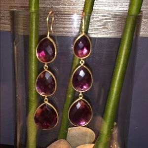 3 Tear Drop Gemstone Earrings - Red